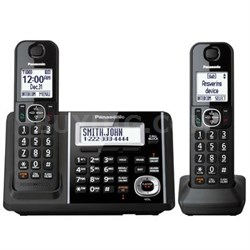 2 Handsets Cordless Phone with Answering Machine in Black - KX-TGF342B