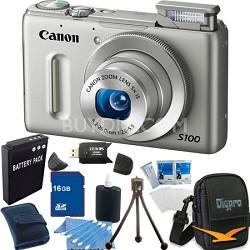 PowerShot S100 Silver Digital Camera 16GB Bundle