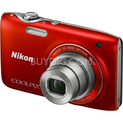 COOLPIX S3100 14MP 5x Zoom Red Compact Digital Camera
