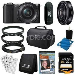 a5000 Compact Interchangeable Lens Camera Black 16-50mm & 20mm F2.8 Lens Bundle