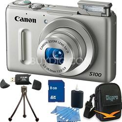 PowerShot S100 Silver Digital Camera 8GB Bundle