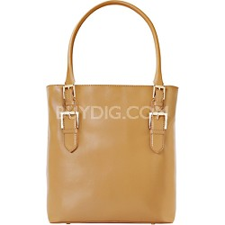 "Isaac Mizrahi ""EMILY"" Genuine Leather Camera Tote - Camel"