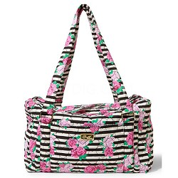 Stay Quilted Weekender Compact Backpack, Black/White Stripes and Roses