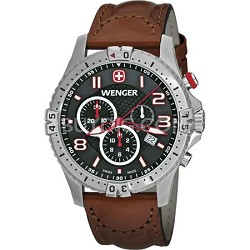 Men's Squadron Chrono Watch - Black Dial/Brown Leather Strap