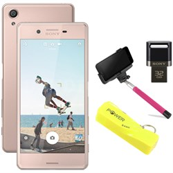"Xperia X 32GB 5"" Smartphone Unlocked Mobile Selfie Bundle - Rose Gold"