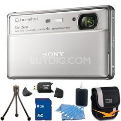 Cyber-shot DSC-TX100V Silver Digital Camera 8GB bundle