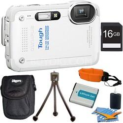 STYLUS TG-630 12MP 3-inch LCD 1080p HD Digital Camera White 16GB Kit