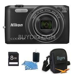 COOLPIX S6800 16MP 1080p HD Video Digital Camera Black 8GB Kit Refurbished