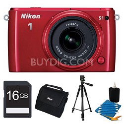 1 S1 10.1MP Red Digital Camera with 11-27.5mm Lens 16GB Bundle Refurbished