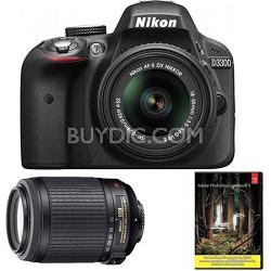D3300 with 18-55mm, 55-200 VR II Lenses (Black)  Factory Refurbished + Adobe LR5