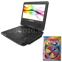 "Port. DVD Player 7"" Swivel Screen Black - SDVD7027 w/ Laser Lens Cleaning Bundle"