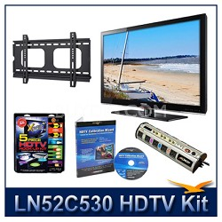 "LN52C530 52"" HDTV + Flat Mount + Hook-Up + Power Protection + Calibration DVD"