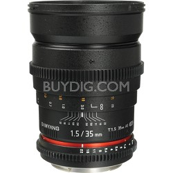 """35mm T1.5 """"Cine"""" Wide-Angle Lens for Nikon VDSLR"""