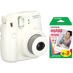 Instax 8 Color Instax Mini 8 Instant White Camera and 2 Pack 20 Sheets Film Kit