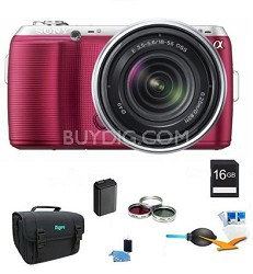 Alpha NEX-C3 Interchangeable Lens Pink Digital SLR w/ 18-55mm ULTIMATE Bundle