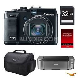 PowerShot G1X Digital Camera, 32GB, Printer Bundle