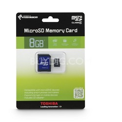 MicroSDHC 8GB High Speed Class 4 Memory Card with SD Adapter