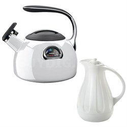 PerfecTemp Porcelain Enameled Teakettle  w/ Copco Simplify 1 Quart Carafe, White