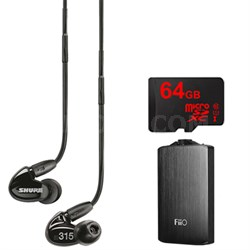 SE315 Earphones (Black) w/HD MicroDriver & Tuned BassPort, FiiO A3 Amp Bundle