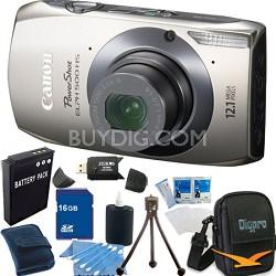 PowerShot ELPH 500 HS Silver Digital Camera 16GB Bundle