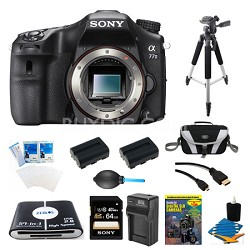 a77II HD DSLR Camera, 64GB Card, and 2 Battery Bundle