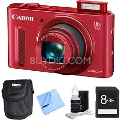 PowerShot SX610 HS 20.2 MP Digital Camera 18x Zoom 3-inch LCD - Red 8GB Bundle
