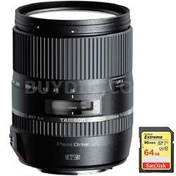 16-300mm f/3.5-6.3 Di II VC PZD MACRO Lens f/Canon EF-S Cams w/ 64GB Memory Card