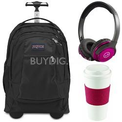Backpack Travel Essential Bundle - Black/Cherry Red/Pink