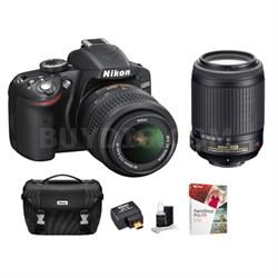 Refurbished D3200 24.2MP D-SLR w/ 18-55 & 55-200 VR Lenses, WiFi Adapter & Case