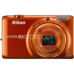 COOLPIX S6500 16 MP Digital Camera  12x Zoom Built-In Wi-Fi Orange Refurbished