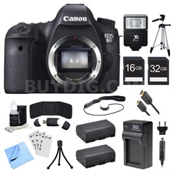 EOS 6D CMOS Digital SLR Camera, Batteries, and Cards Bundle