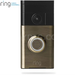 Video Doorbell Wi-Fi Enabled Smartphone Compatible (Antique Brass)