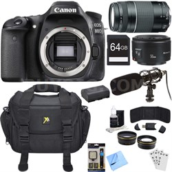 EOS 80D 24.2 MP CMOS Digital SLR Camera Bundle w/ 75-300mm + 50mm Lenses