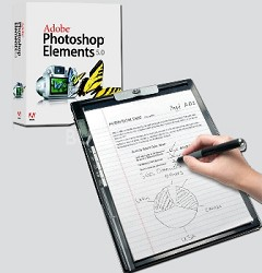 "8.5x11"" Digital Notepad & Drawing Tablet combo unit  with Photoshop Elements 5.0"