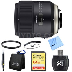 SP 45mm f/1.8 Di VC USD Lens for Canon EOS Mount 64GB SDXC Card Bundle