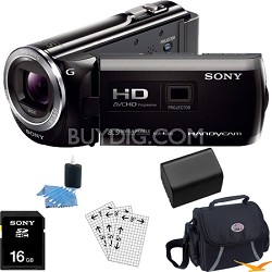 HDR-PJ380/B 16GB Full HD Camcorder with Projector Essentials Bundle