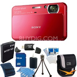 Cyber-shot DSC-T110 Red Touchscreen Digital Camera 16GB Bundle