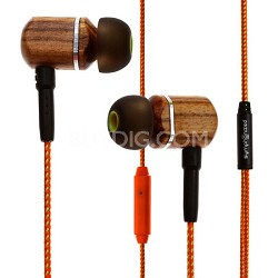 MTRX Premium Genuine Wood In-ear Noise-isolating Headphones w/ Mic Orange Stripe