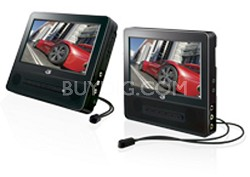 Dual-Screen 7 inch Portable DVD Player with 2 Earbuds and Case