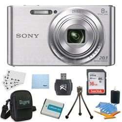 DSC-W830 Cyber-shot Silver Digital Camera Bundle