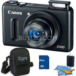 PowerShot S100 Black Digital Camera 4GB Bundle