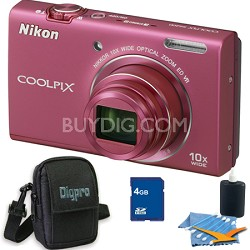 COOLPIX S6200 Pink 10x Zoom 16MP Camera 4GB Bundle