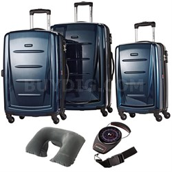 Winfield 2 Fashion Hardside 3 Pcs Spinner Set Deep Blue 56847-1277 w/ Travel Kit