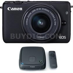 EOS M10 Mirrorless Camera w/ EF-M 15-45mm IS STM Lens + 1TB CS100 Hub - Black