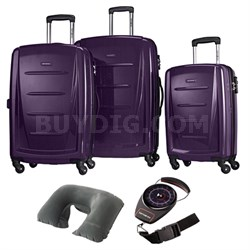 Winfield 2 Fashion Hardside 3 Pcs Spinner Set Purple with Travel Kit