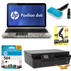 "Pavilion 15.6"" DV6-6C15NR Entertainment Notebook and Printer Bundle"