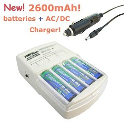 Rapid AC/DC Charger w/ 4 AA 2600mAh NiMH Batteries