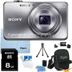 Cyber-shot DSC-WX150 18.2 MP 10x Optical HD Video Camera (Silver) 8GB Bundle