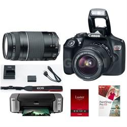 EOS Rebel T6 w/ 18-55 & 75-300 Lenses + Pro 100 Printer/Paper/PaintShop X9