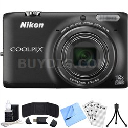 COOLPIX S6500 16MP Digital Camera w/ 12x Zoom + Wi-Fi (Black) Refurbished Bundle